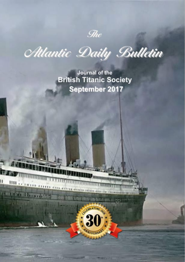 September 2017 coverhas a coloured image of the Titanic