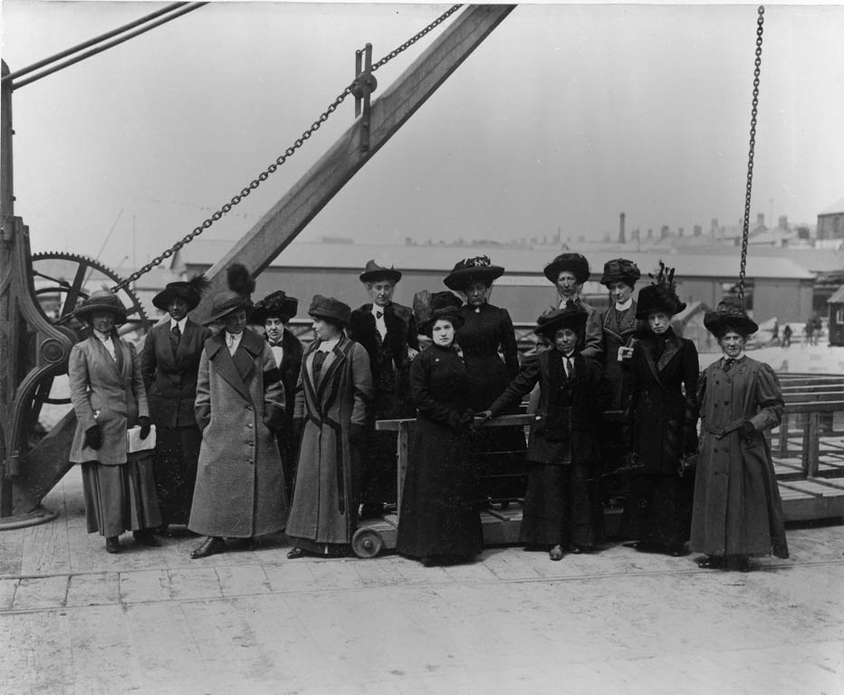 Titanic's surviving stewardesses pictured after their arrival in Plymouth