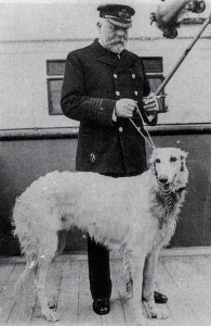 Captain Smith with Russian Wolfhound Ben (a present for his daughter from Benjamin Guggenheim).
