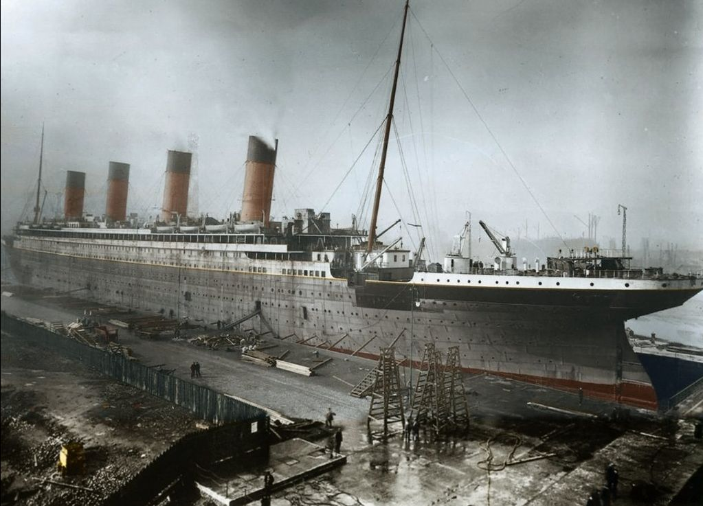 Titanic during fitting out at Harland and Wolff. Digitally coloured original photograph