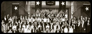 Black& white image of a large group of people at White Star Line function c 1920's