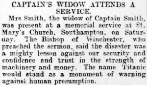 Newspaper snippet describing Captain Smith's wife's presence at the service