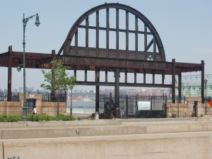 Metal framework of Pier 54 New York