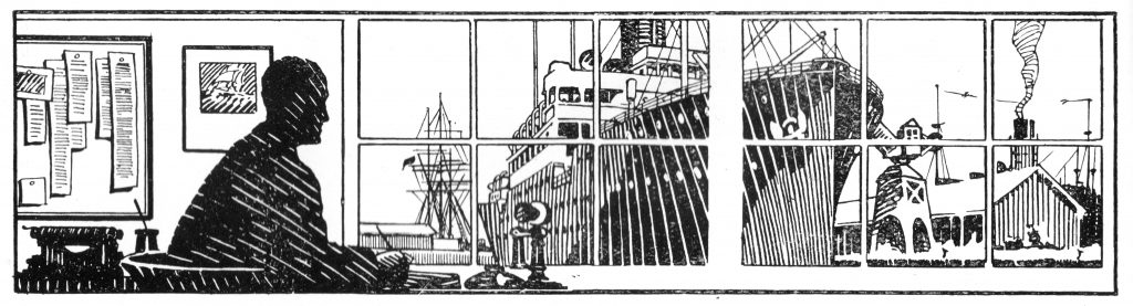 A 1912 man in an office looks out of the window onto the Titanic (hand drawn)