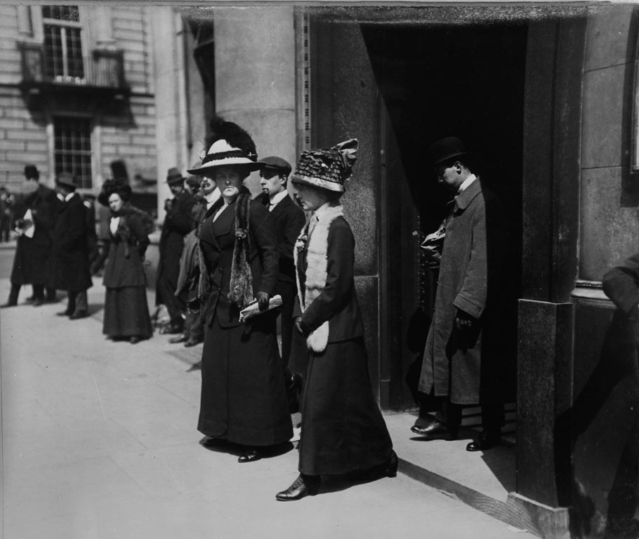 Relatives leaving White Star Line offices in London