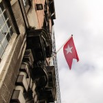 Albion House exterior with a White Star Line flag flying
