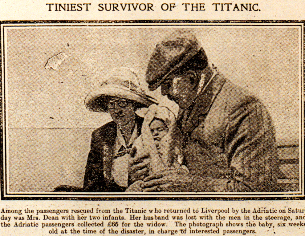 1912 newspaper article featuring Millvina with passengers on the Adriatic, returning home after the disaster.