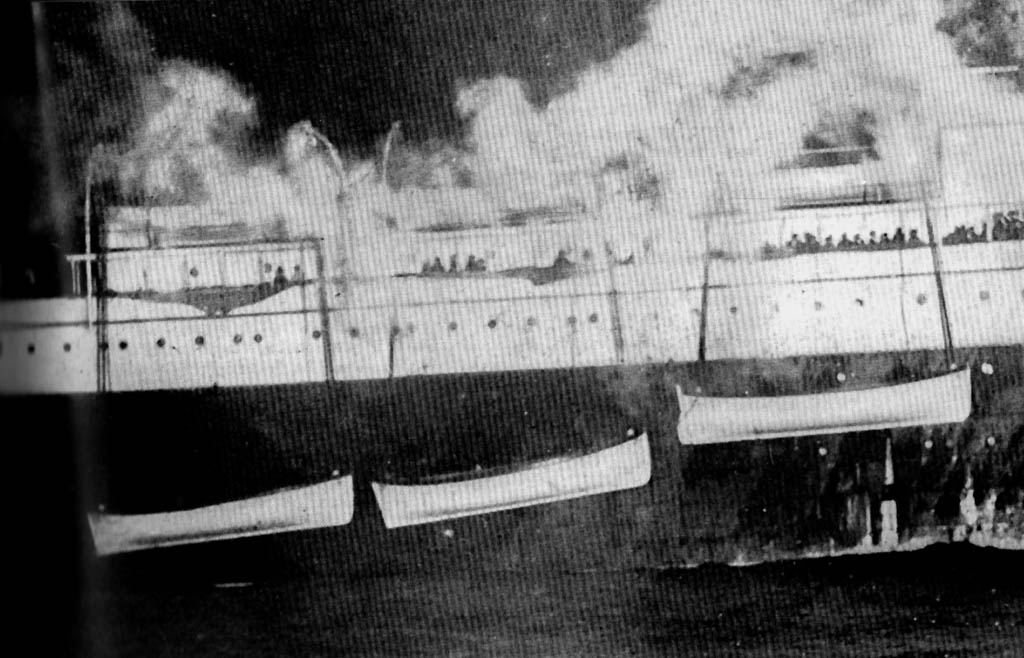 Titanic's lifeboats hung alongside Carpathia as approaches New York