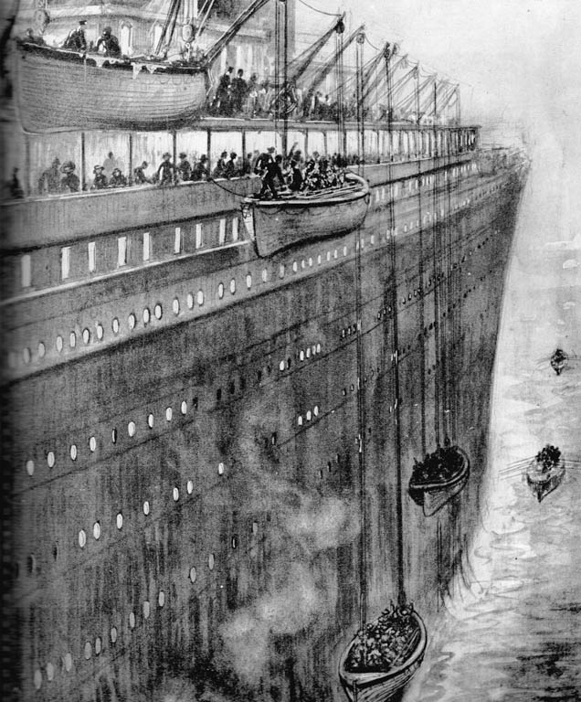 1912 illustration by C.J. Lacy of three lifeboats being lowered down past the Titanic's huge hull. A fourth is still being loaded and two are sketched rowing away in the distance.