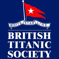 Navy blue background to white lettering and a white star line flag over the top
