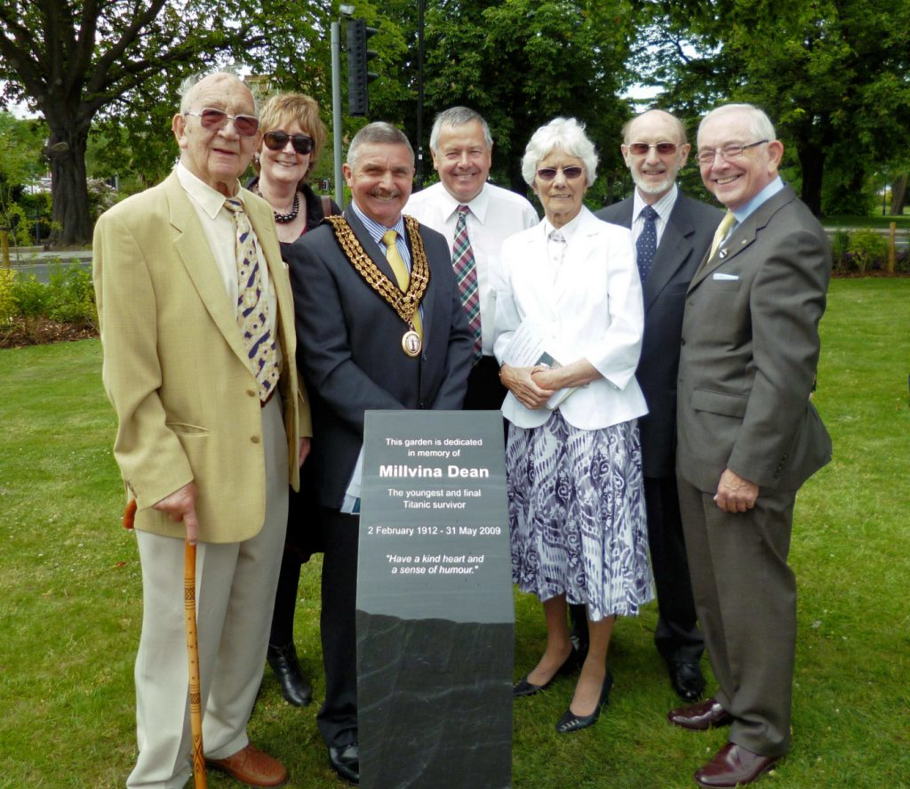 Bruno Nordmanis, Councillor Derek Burke, the Mayor of Southampton, David Hill from the British Titanic Society, and three others surround the newly unveiled memorial plinth - smiles a plenty!