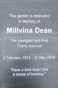 Engraved memorial slate to Millvina Dean