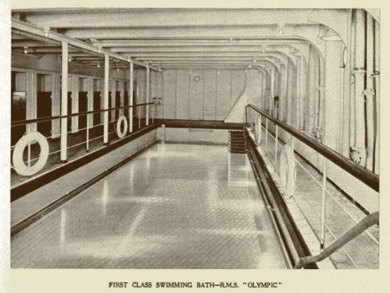 Black and white image of the First Class Swimming bath