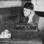 Black & white image of a man using early marconi wireless equipment c1905