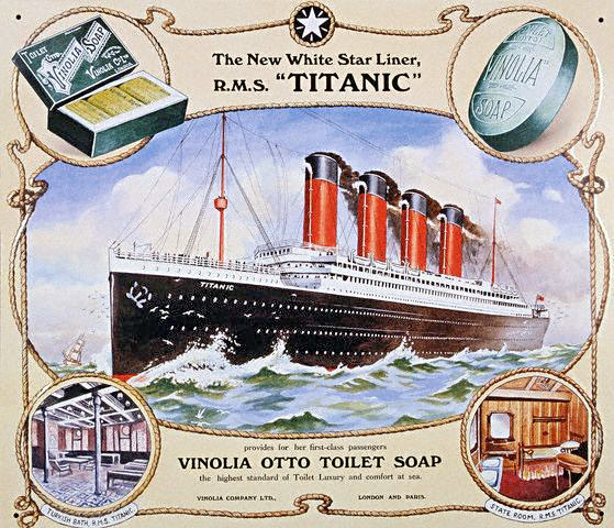 Poster for soap showing the Titanic with red funnels!