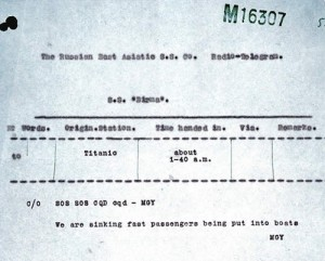 Copy of a radio signal received by SS Birma from the Titanic. It  states 'SOS SOS CQD cqd MGY We are sinking fast passengers being put into boats MGY'