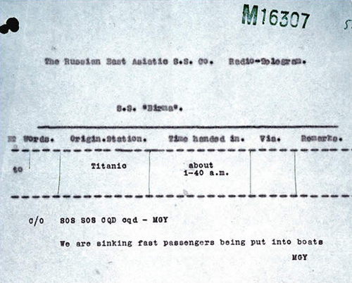 Copy of a radio signal received by SS Birma from the Titanic.