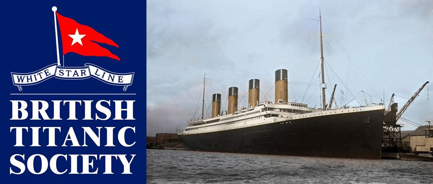 British Titanic Society logo with Whiite Star Line flag
