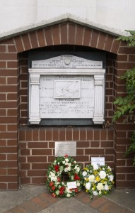 Wreaths at musicians' memorial