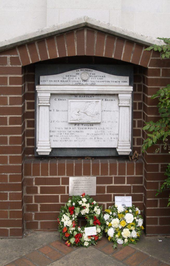 RMS Titanic's musician's white stone memorial