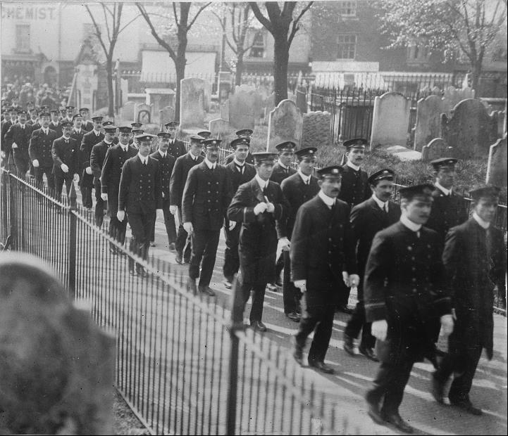 Sailors on the way to the service, walking in rows several abreast - image courtesy Southampton City Council Arts & Heritage