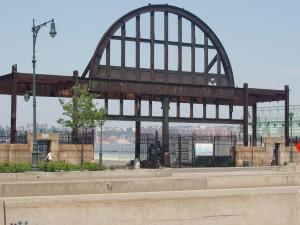 Metal framework of Pier 54 New York