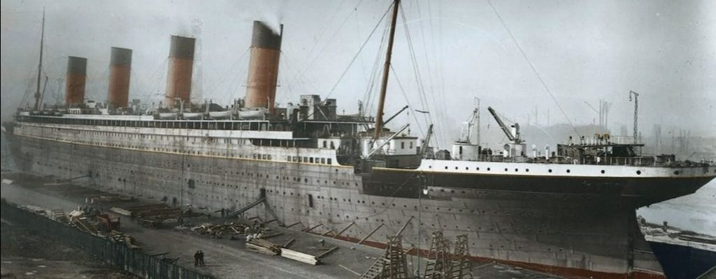 Titanic under construction at Harland & Wolff