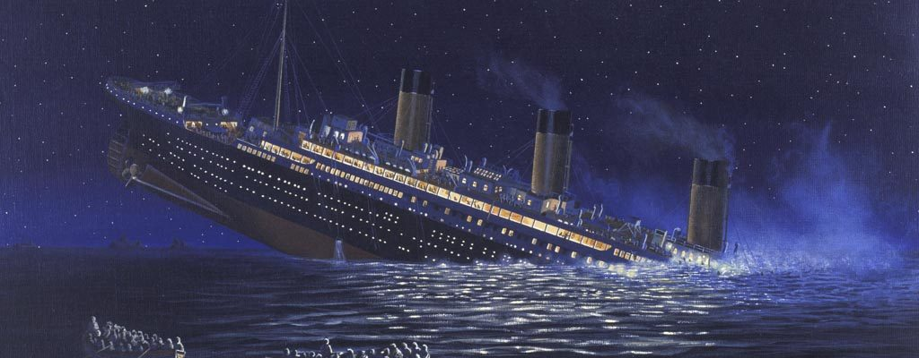 Colour painting by Stuart Williamson of Titanic's last minutes. Lifeboats in the foreground look on as the half submerged liner leans into sea. Steam rises from two of the three remaining funnels and the lights are still burning.